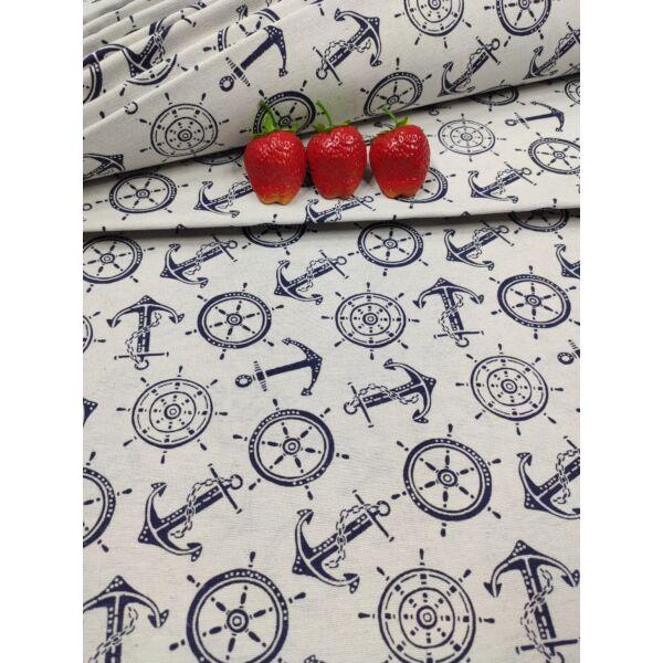 mintás LONETA vastag vászon /tengerész szimbólumok (hajókormány 6cm*6cm) /sötétkék-fehér