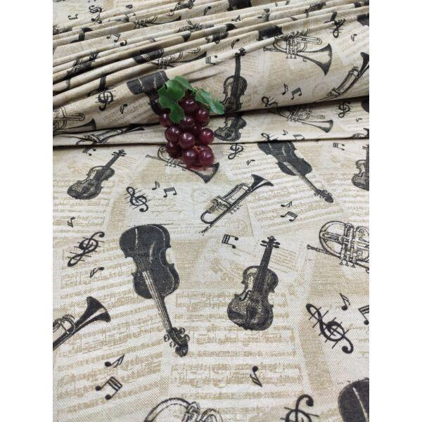 mintás LONETA vastag vászon /hangszerek (hegedű 3.5cm*11cm) /drapp