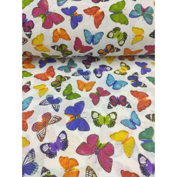 mintás LONETA vastag vászon /színes pillangók (pink-zöld pillangó 4.5cm×6.5cm) /fehér