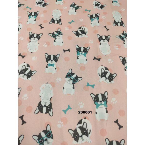 PRÉMIUM mintás pamutvászon /francia bulldog (szemüveges bulldog 5cm × 7cm) /rózsaszín