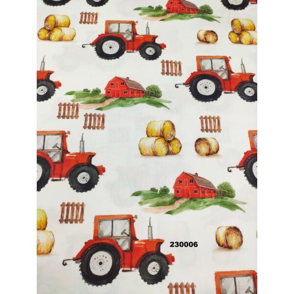 PRÉMIUM mintás pamutvászon / tanya (traktor 7.5cm × 13cm) /fehér
