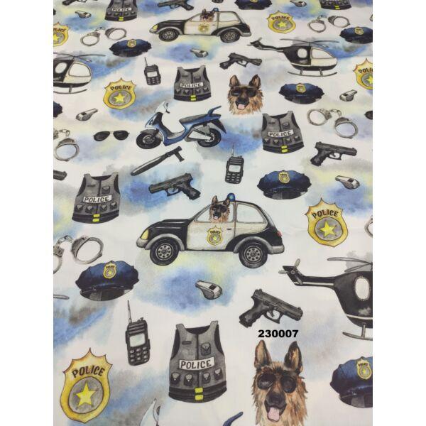 PRÉMIUM mintás pamutvászon /rendőrségi jelképek (rendőrautó 7.5cm × 13.5cm) /fehér