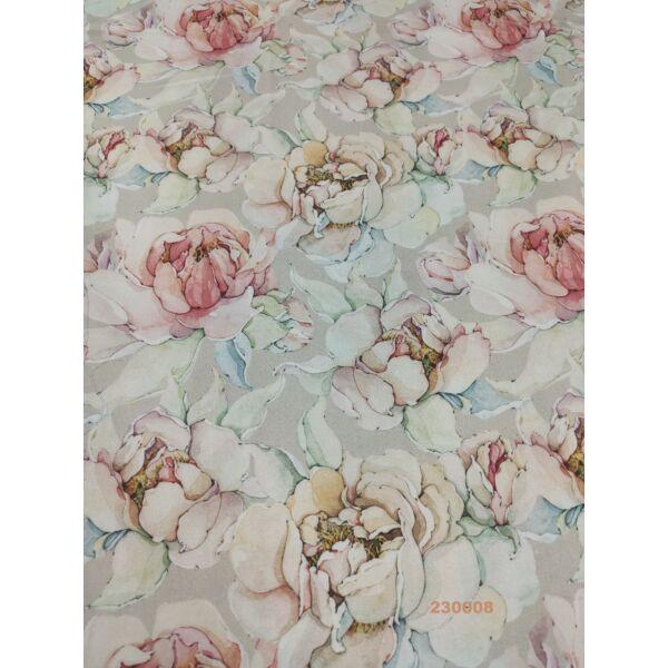 PRÉMIUM mintás pamutvászon /pasztell rózsák (rózsaszín 12.5cm × 13cm) /homok