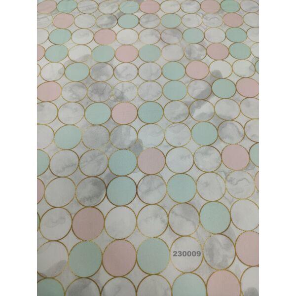 PRÉMIUM mintás pamutvászon /pasztell körök (3cm × 3cm) /menta-rózsaszín