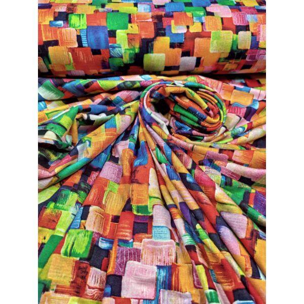 mintás viszkóz jersey /színpompás síkidomok (narancssárga négyzet 2.7cm*2.7cm) /fekete