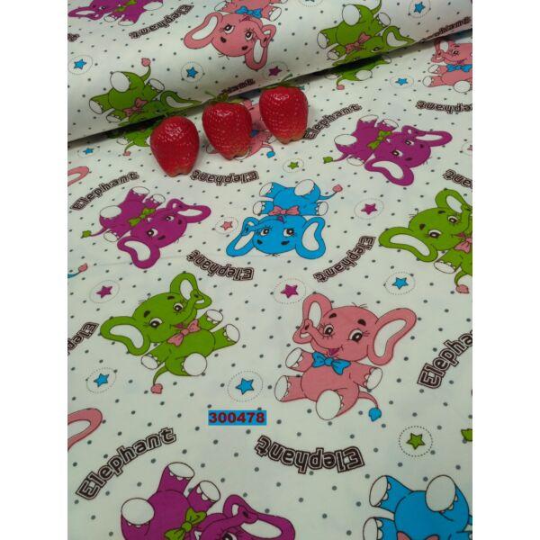 elasztikus pamut jersey /elefántok / lila