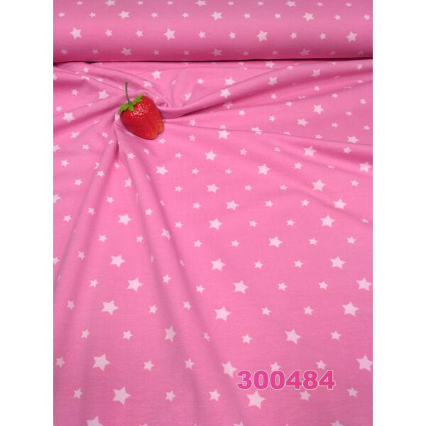 elasztikus pamut jersey /csillagok /rózsaszín