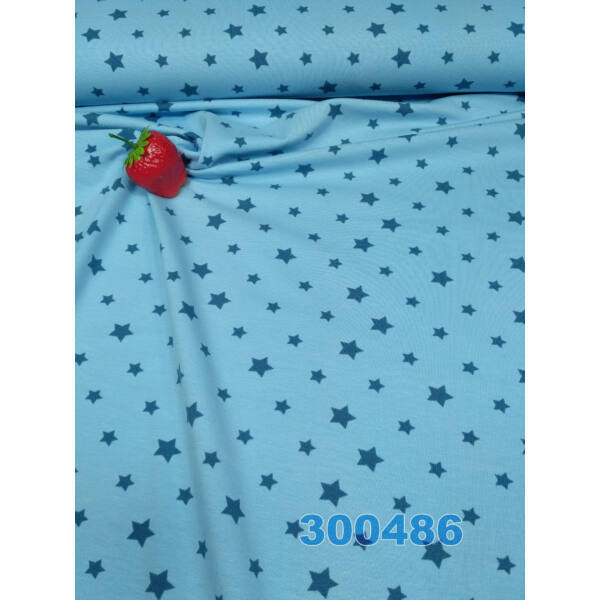 világos kék csillag mintás elasztikus pamut jersey