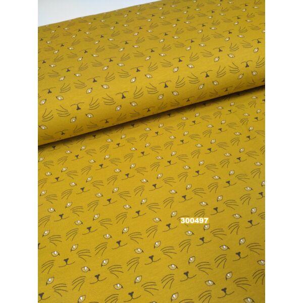 elasztikus pamut jersey /sötétben világító szemű cica /mustár sárga