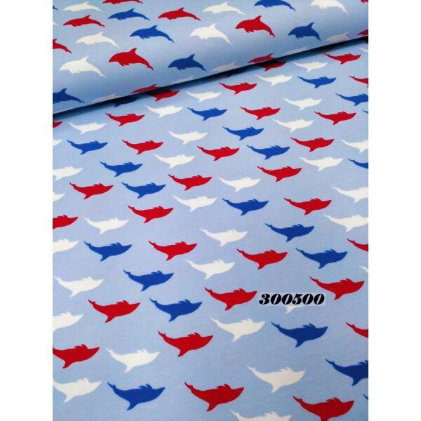 elasztikus, mintás pamut jersey /ugráló delfinek / világos kék