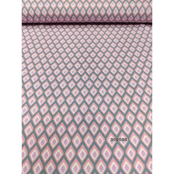 elasztikus pamut jersey /rombuszok /szürke-rózsaszín