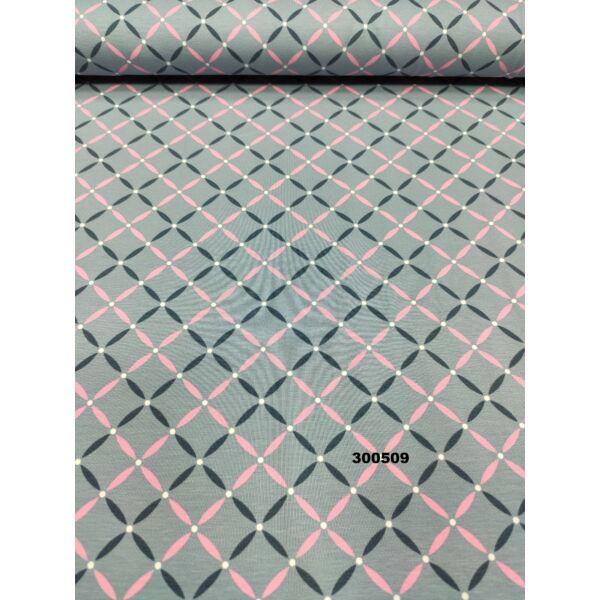 elasztikus pamut jersey /geometriai mintás /szürke-rózsaszín