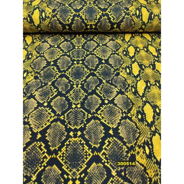 elasztikus mintás pamut jersey /kígyó /mustársárga