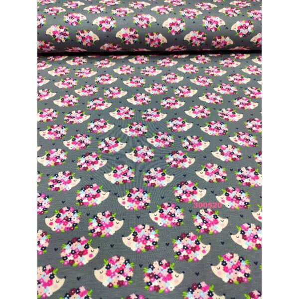 elasztikus pamut jersey /virágos sünik /szürke