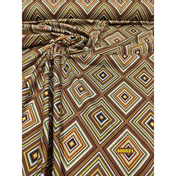 elasztikus mintás pamut jersey /színes rombuszok /mustár-barna
