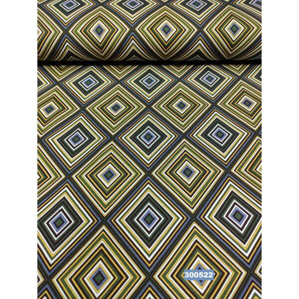 elasztikus mintás pamut jersey /színes rombuszok /mustár-kék