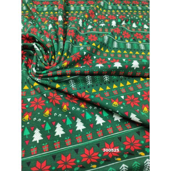 elasztikus pamut jersey /karácsonyi mintás (fenyőfa 2cm*1,3cm)