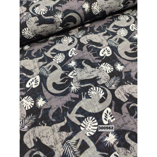 elasztikus pamut jersey /dínók (raptor 7cm*6cm) /szürke