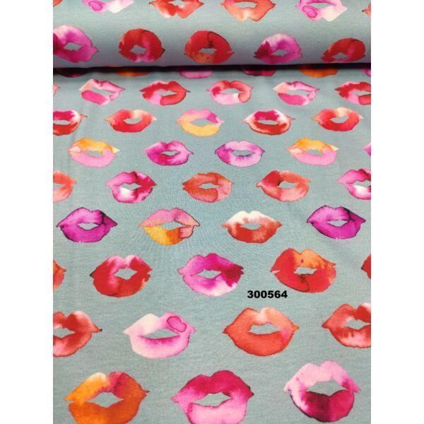 elasztikus mintás pamut jersey /csókok (5 cm*3cm9 DIGITAL PRINT / szürkéskék