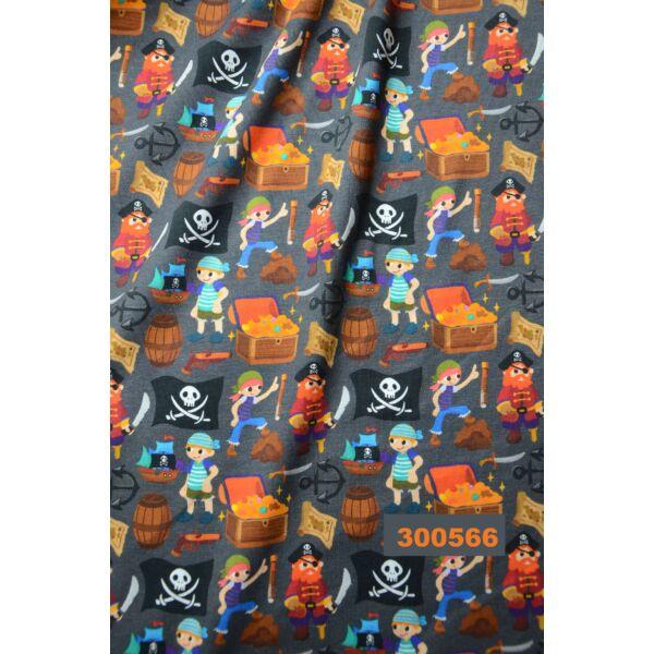 elasztikus pamut jersey /kalózok /sötétszürke