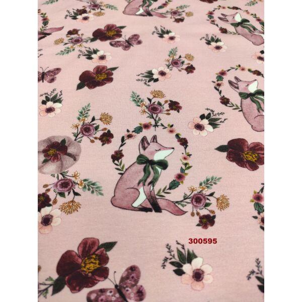 elasztikus futter / romantikus rókák (róka 5,3cm*2,5cm) DIGITAL PRINT /rózsaszín