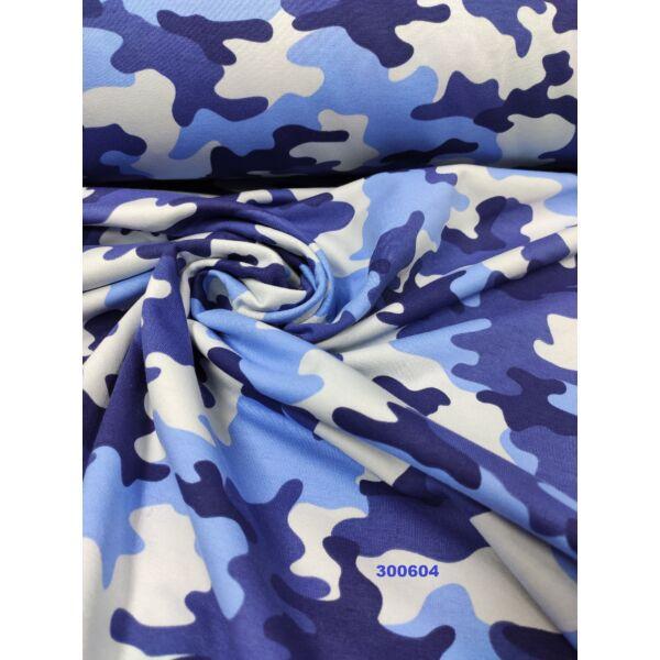 elasztikus bolyhos futter /terep mintás /kék