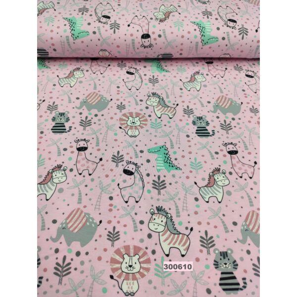 elasztikus mintás pamut jersey /afrikai állatok /rózsaszín