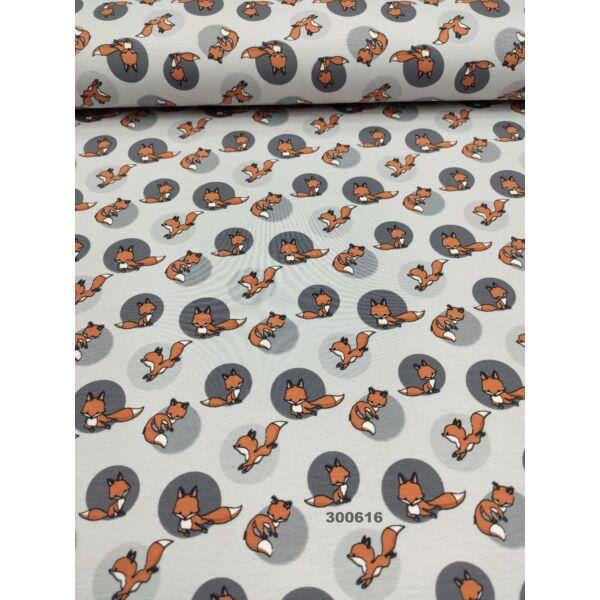 elasztikus mintás pamut jersey /rókák /világos szürke