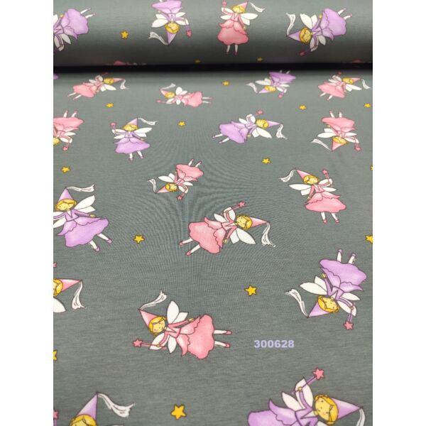 elasztikus mintás pamut jersey /tündér hercegnők (rózsaszín legnagyobb 4cm × 6cm) /szürke