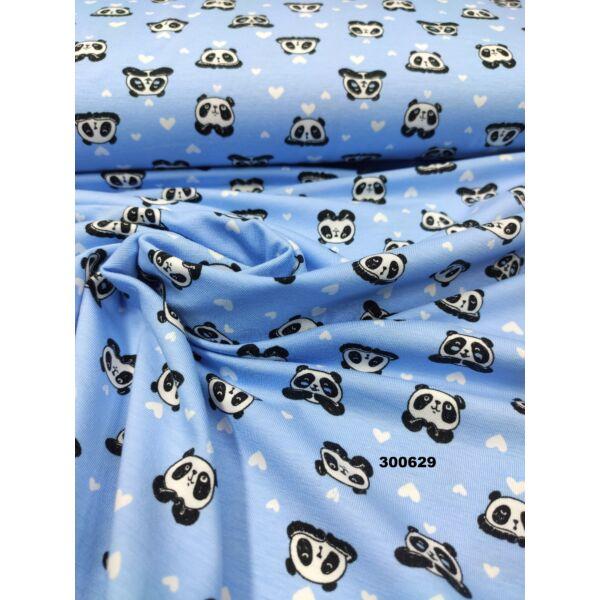 elasztikus mintás pamut jersey /szerelmes panda macik (panda 2.5cm × 2cm) /világoskék