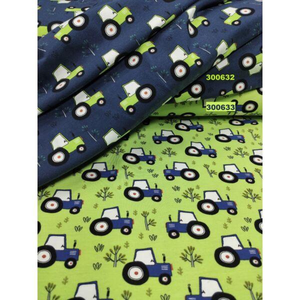 elasztikus mintás pamut jersey /traktorok (traktor 3cm × 4cm)
