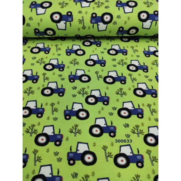 elasztikus mintás pamut jersey /farmerkék traktorok (traktor 3cm × 4cm) /világos kiwi