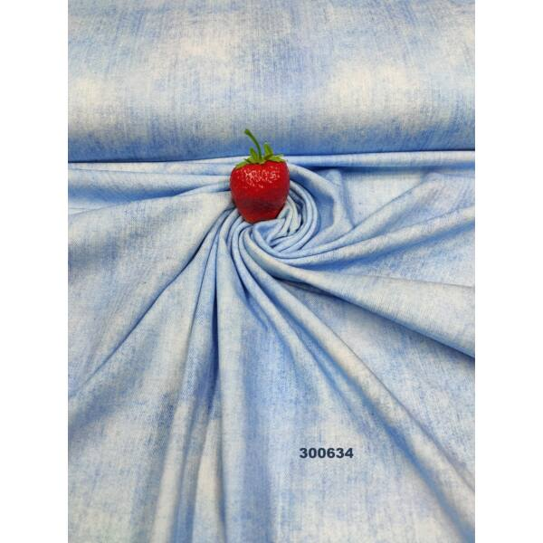 elasztikus mintás pamut jersey /farmer hatású /világoskék