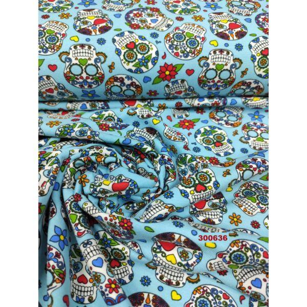elasztikus mintás pamut jersey /mexikói halálfejek (halálfej 3cm × 4cm) /világoskék