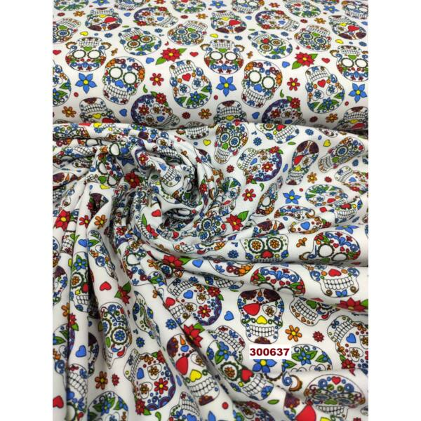 elasztikus mintás pamut jersey /mexikói halálfejek (halálfej 3cm × 4cm) /fehér