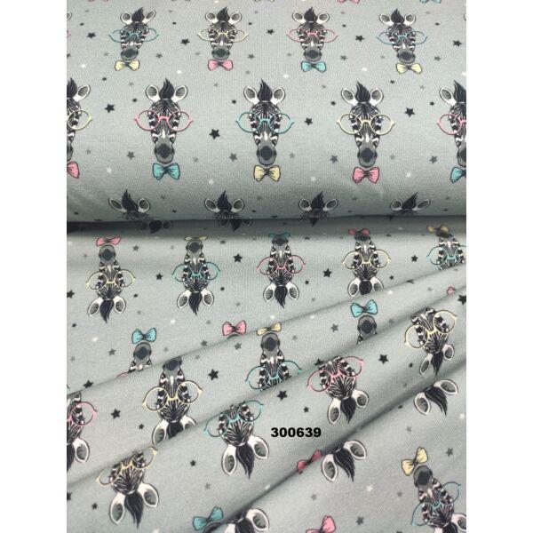 elasztikus mintás pamut jersey /bohém zebrák (sárga szemüveges zebra 5.5cm × 3cm) /szürke