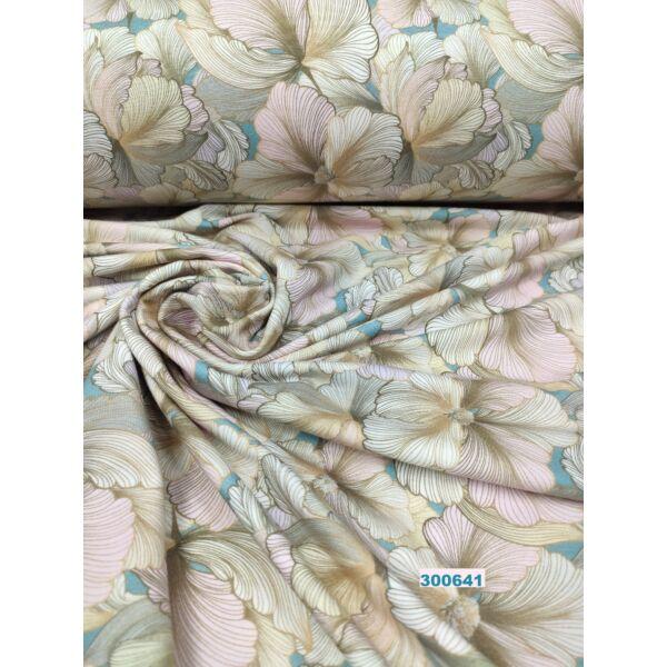 elasztikus mintás pamut jersey /rózsaszín-bézs virágok /világos petrol