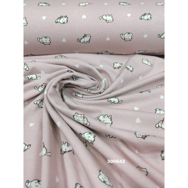 elasztikus mintás pamut jersey /cicák szívvel (cica 2.5cm × 1cm) /púderrózsaszín