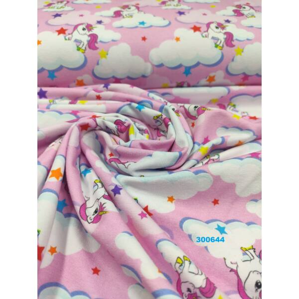 elasztikus mintás pamut jersey /unikornis felhővel (legnagyobb 4.5cm × 18cm) /rózsaszín