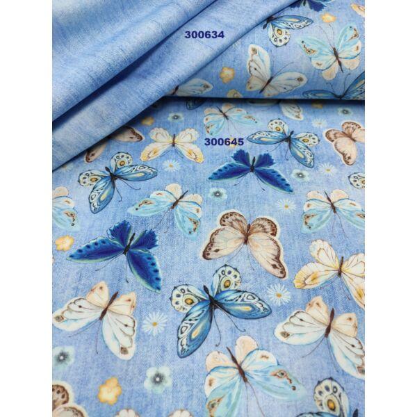 elasztikus mintás pamut jersey /türkiz-drapp pillangók (sötétkék pillangó 4cm × 7cm) /világos farmerkék