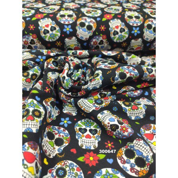 elasztikus mintás pamut jersey /mexikói halálfejek (halálfej 3cm × 4cm) /fekete