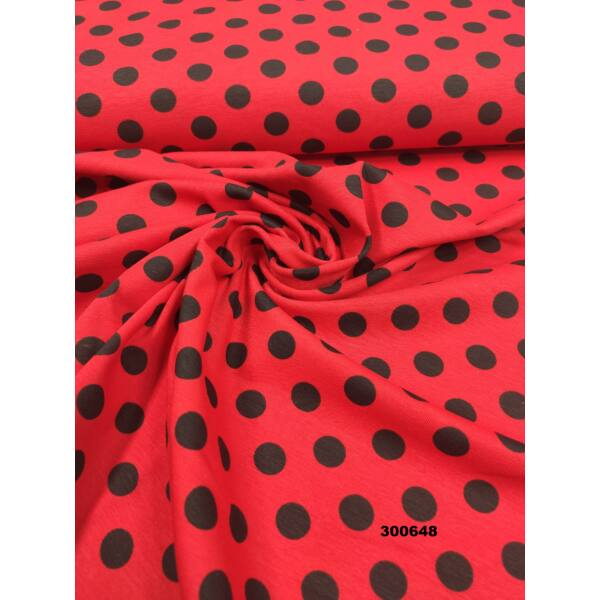 elasztikus mintás pamut jersey /fekete pöttyös (1.5cm) /piros