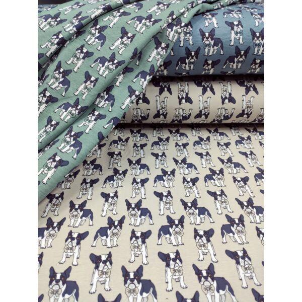 elasztikus mintás pamut jersey /francia bulldog csokornyakkendővel (bulldog 3.5cm*4cm)