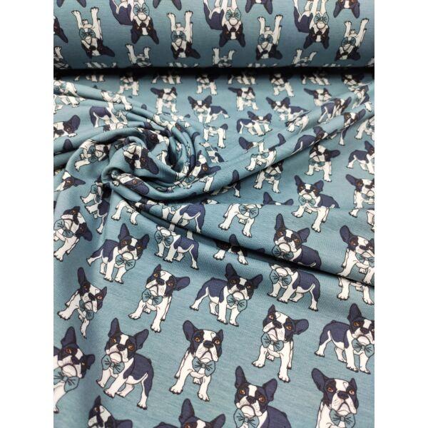 elasztikus mintás pamut jersey /francia bulldog csokornyakkendővel (bulldog 3.5cm*4cm) /szürkéskék