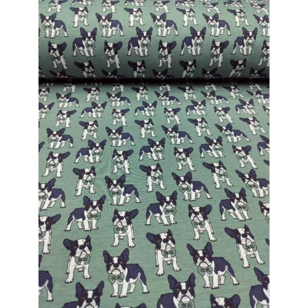 elasztikus mintás pamut jersey /francia bulldog csokornyakkendővel (bulldog 3.5cm*4cm) /kákazöld