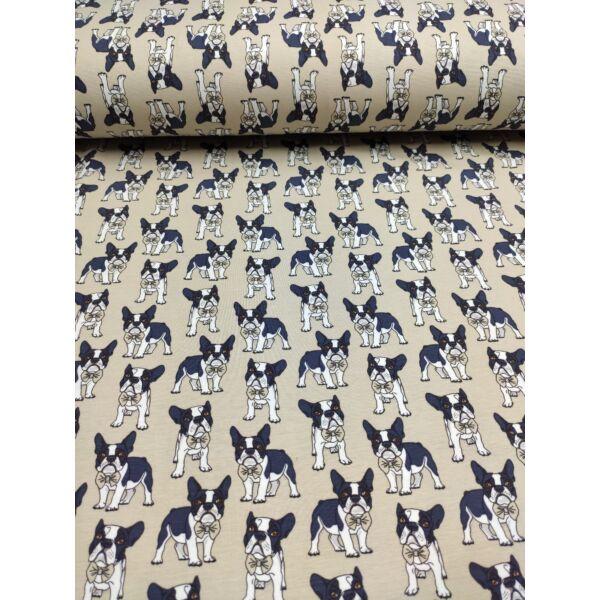 elasztikus mintás pamut jersey /francia bulldog csokornyakkendővel (bulldog 3.5cm*4cm) /homok