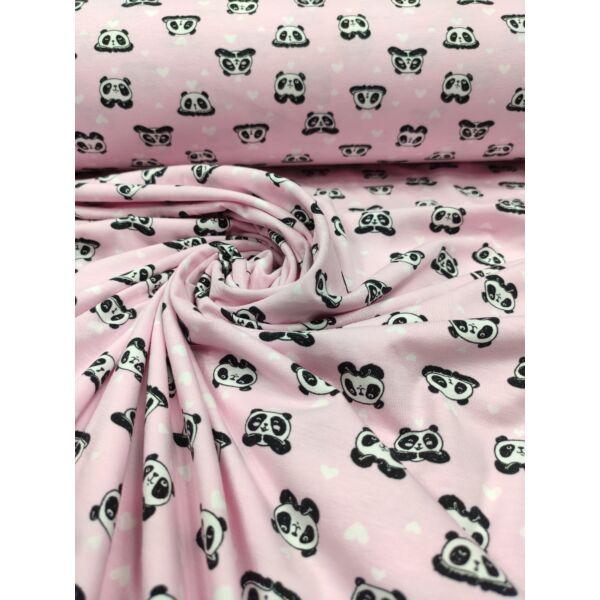 elasztikus mintás pamut jersey /szerelmes panda macik (panda 2.5cm × 2cm) /rózsaszín