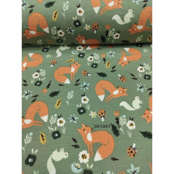 mintás bolyhos futter /mókus és róka az erdőben (róka 5cm × 4.5cm) /közép khaki