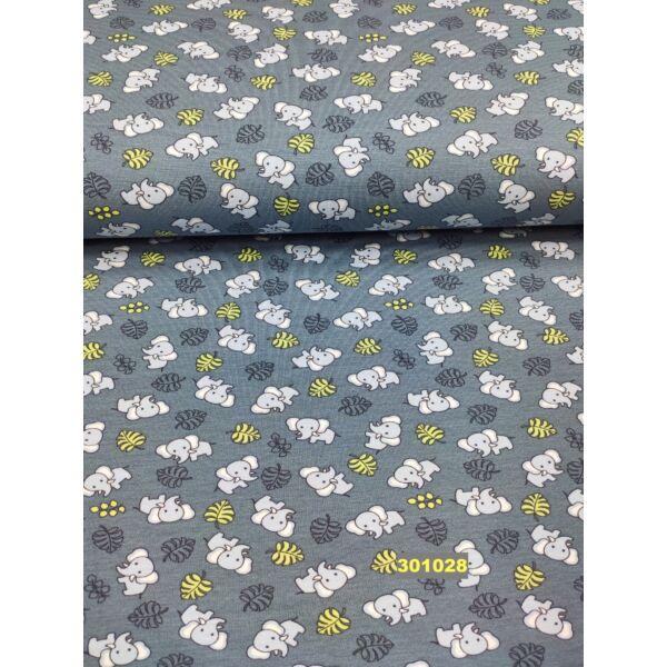 ORGANIC elasztikus pamut jersey/ elefántok-levelek/ kékesszürke