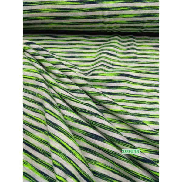 elasztikus pamut jersey /szivárvány csíkos /zöld